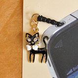 スマホのアクセ 黒猫のイヤホンピアス