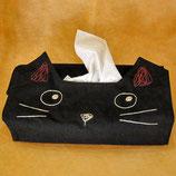 黒猫の顔型ティッシュBOX(置き型兼掛け型)