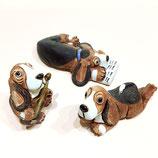 おとぼけバセット(犬の飾り物)3種
