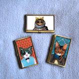 アンティーク風猫柄の名刺入れ マフラー猫