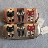 3匹の猫のメガネケース 2種
