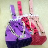 猫と水玉 -レース付巾着袋ー手作り布小物