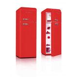 SCHNEIDER SL 210 DD A++FIRE RED koelkast met vriesvak boven