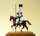 Zwei Tempelritter auf einem Pferd. Bemalte Figuren mit Holzsockel, Größe 54m
