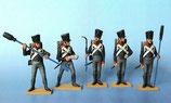 Fußartillerie, Geschützbedienung - 5x Kanoniere / Preußen 1809 - 1815