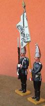 Fahnenjunker mit Fahne und Greanadier, präsentiert / 1. Garderegiment zu Fuß / Preußen um 1894