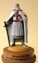 Jakob de Molay, letzter Großmeister der Templer / + 1314.  Portraitfigur (ohne Sockel) mit Großmeistersiegel