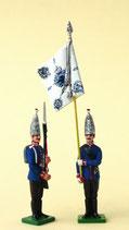 Fahnenjunker mit Fahne und Grenadier, präsentiert / 1. Garde-Regiment zu Fuß / Preußen um 1894