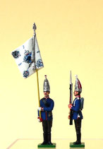 Fahnenjunker mit Fahne und Grenadier, präsentiert / 1. Garderegiment zu Fuß / Preußen um 1894