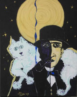 "Neo - Primitive Kunst / Acryl figurativ:  ""  Porträt Paul Klee mit seiner Katze Bimbo """