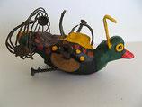 Naive Kunst / Ton Skulptur Vogel:   Strumpfhalter Erna