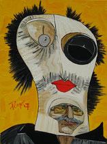 "Neo - Primitive Kunst / Acryl figurativ:  Die Fasnacht Maske "" Frau Galka Scheyer """