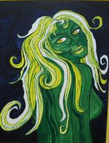 "Naive Kunst / Bilder / Acryl figurativ:  "" Luzia die Licht - Frau """