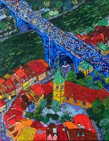 """Neo - Primitive Kunst /Acryl gegenständlich: """"  Grand - Prix von Bern  """""""