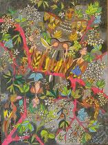 """Neo - Primitive Kunst / Pastell Farben Figurativ:  """"  So ist das Leben, nicht nur beim Kuckuck """""""