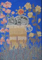"Naive Kunst / Bilder / Mix Technik:  ""  Im Provence Garten  """