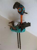 Naive Kunst / Ton Skulptur Vogel:   Stelzy Sägebein