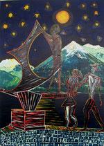 """Neo - Primitive Kunst /Acryl figurativ: """" Odysseus und der Besuch """""""