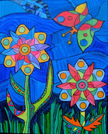 "Naive Kunst Collage  ""  Der Besuch des Schmetterlings  """