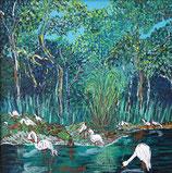 "Neo - Primitive Kunst / Acryl gegenständlich: ""  Am Ufer des Aare Flusses """