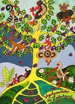 """Naive Kunst / Bild / Gouache / Aquarell gegenständlich:  """"  Vogelgezwitscher im Zwitschgenbaum  """""""
