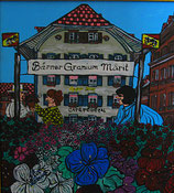 "Neo - Primitive Kunst / Acryl figurativ:  ""  Bärner Granium Märit ""  Berner Geranien Markt"
