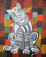 "Neo - Primitive Kunst / Acryl figurativ:  Paul Klees Katze "" Fritzi "" im bunten Beet"