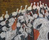 Naive Kunst / Bilder / Pastell Kreide auf Sandpapier:   Ankunft der Störche auf Feld Nr.4