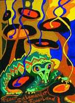 """Naive Kunst / Bild / Gouache / Aquarell gegenständlich:  """"  Feuersalamander im Feuerland  """""""