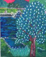 """Neo - Primitive Kunst / Acryl gegenständlich: """"  Der blühende Kastanienbaum und die Quelle """""""