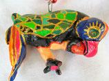 Naive Kunst / Ton Skulptur Vogel:   Papageno