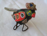 Naive Kunst / Ton Skulptur Vogel:   Diamantfink