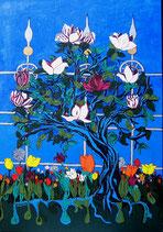"""Neo - Primitive Kunst / Acryl gegenständlich:  """"  Frühling in Berns Gärten """""""
