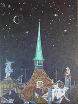 "Neo - Primitive Kunst /Acryl figurativ: ""  Die Geisterstunde  """