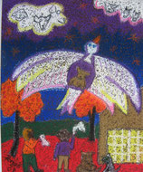 "Neo - Primitive Kunst / Pastell Kreide figurativ: ""  Adieu Trolly gute Reise """