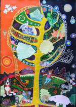 "Naive Kunst Collage  ""  The circle of Life  """