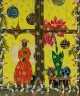 """Naive Kunst / Bild / Acryl figurativ:  """" Der Friedensengel im Weihnachtsfenster """""""