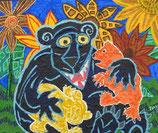 "Neo - Primitive Kunst / Acryl figurativ:   ""  Mama Bär """