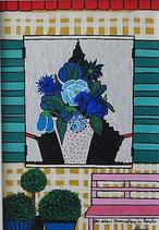 Naive Kunst / Bilder / Gouache / Acryl :  Der blaue Blumenstrauss im Fenster