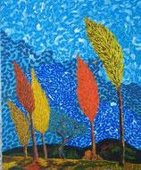 """Neo - Primitive Kunst / Acryl gegenständlich: """"  Der Wind """""""