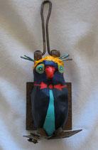 Naive Kunst / Ton Skulptur Vogel:  Sardinen Schreck