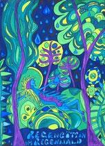 """Naive Kunst / Bild / Gouache / Aquarell gegenständlich:  """"  Regengöttin im Regenwald  """""""