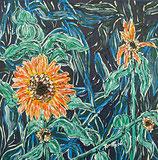 """Neo - Primitive Kunst / Acryl gegenständlich: """"  Die vereiste Blume  """""""