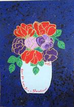 """Naive Kunst Collage:  """" Rosen für Lady Sina im Sternenhimmel """""""