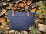 Tweed- Handtasche groß, blau