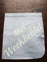 "Stoffdutt Hellgrau - Weiß ""Moi Weckbeidel"""