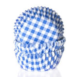 Cupcake Förmchen blau-weiß kariert (50 Stück)