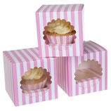Einzel Cupcakekarton rosa-gestreift 3er Set