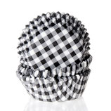 Cupcake Förmchen schwarz-weiß kariert (50 Stück)