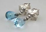 """""""Delfin"""" Ohrringe, klein, 925/- Sterling Silber, Blauer Topas"""